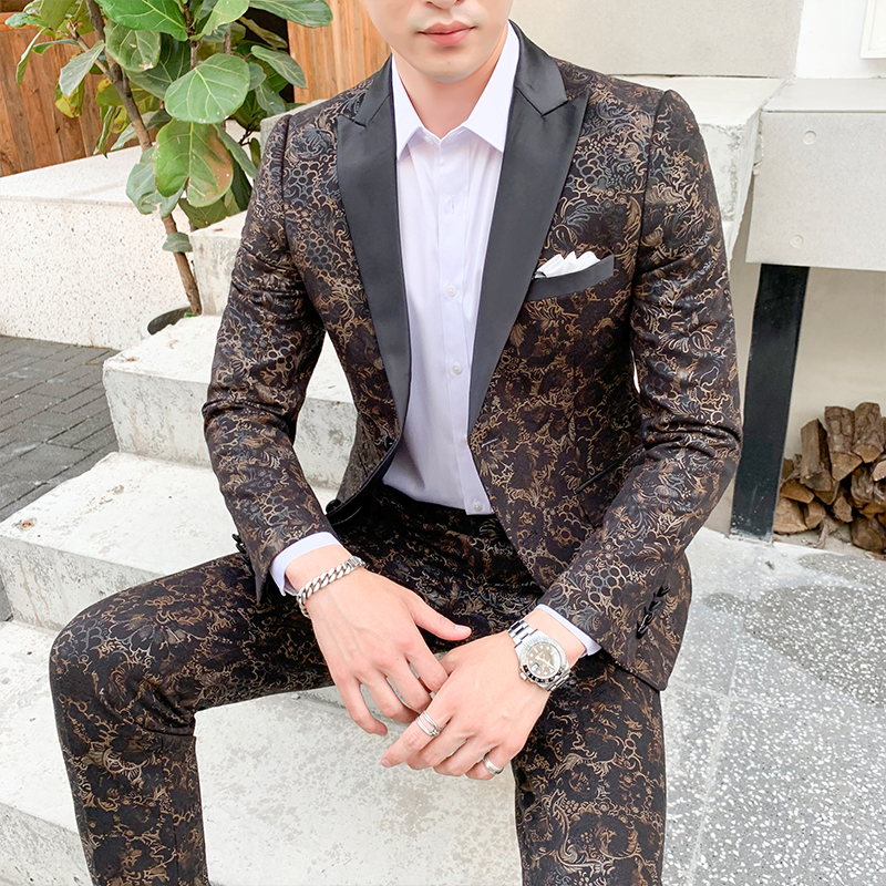 High Quality Mens Flower Suits 2020 New Fashion Men Wedding Suit Slim Fit Male Suit Jacket And Pant Large Size 4XL 5XL