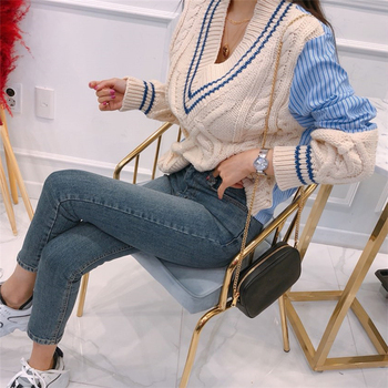 Ailegogo 2020 Autumn Winter Women's Sweaters Patchwork Srtiped V-Neck pullover Stylish Knitted Korean Female Jumpers SW1703 3