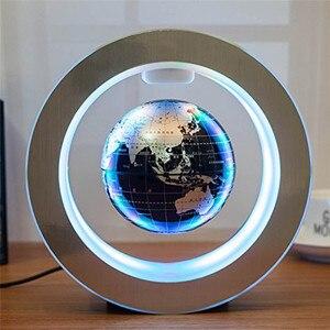 Image 1 - 4 인치 라운드 LED 글로브 자기 부동 글로브 지리 회전 밤 램프 세계지도 학교 사무실 공급 홈 장식