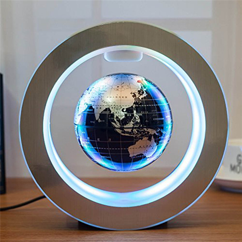 4inch Round LED Globe Magnetic Floating Globe Geography Levitating Rotating Night Lamp World Map School Office Supply Home Decor