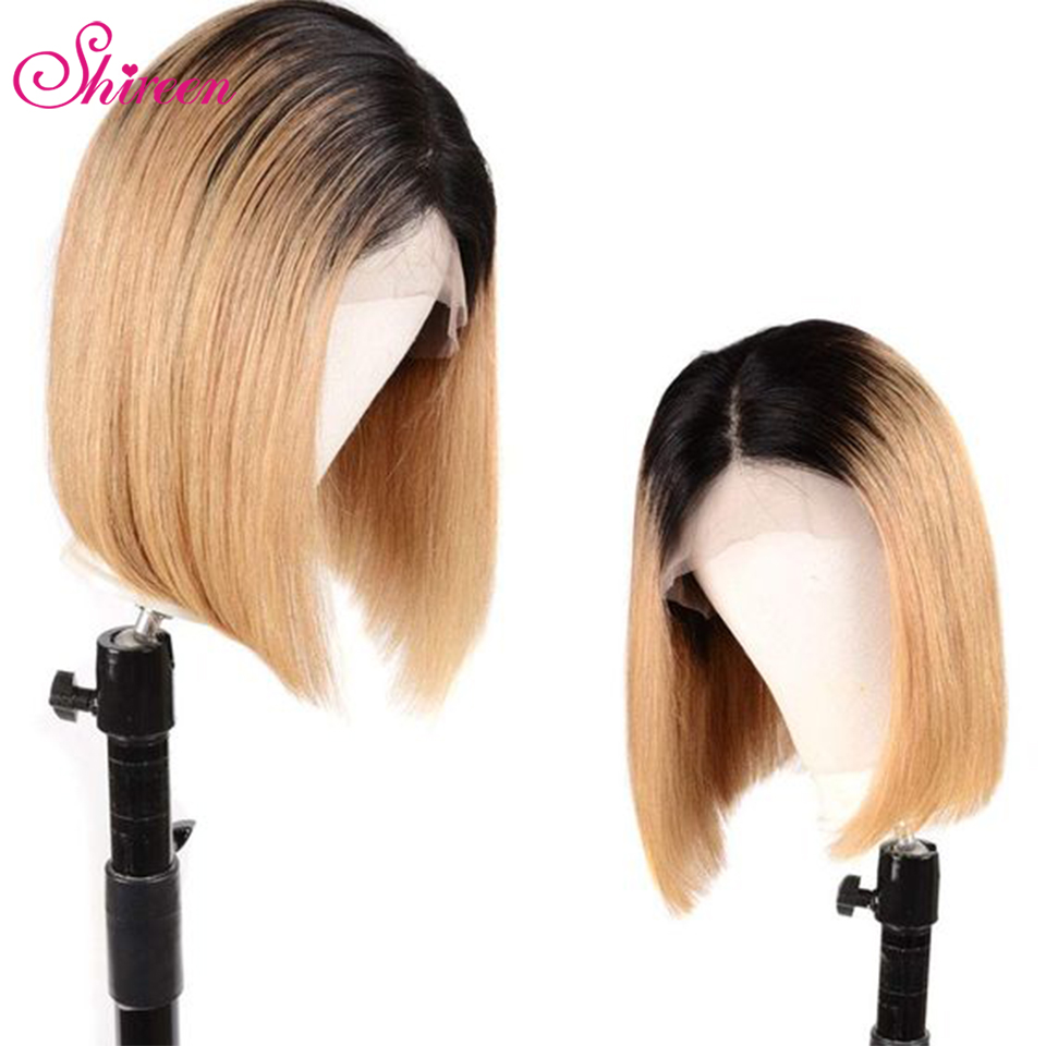 Shireen 1B/99J Brazilian Bob Wig 1B/27 Ombre Human Hair Wigs Straight Remy Hair 13X4 Lace Front Human Hair Wigs Pre Plucked