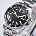 Retro Horloge heren Automatische Mechanische 39.5mm zwart Steriele Wijzerplaat zwarte Aluminium Plaat Bezel Lichtgevende