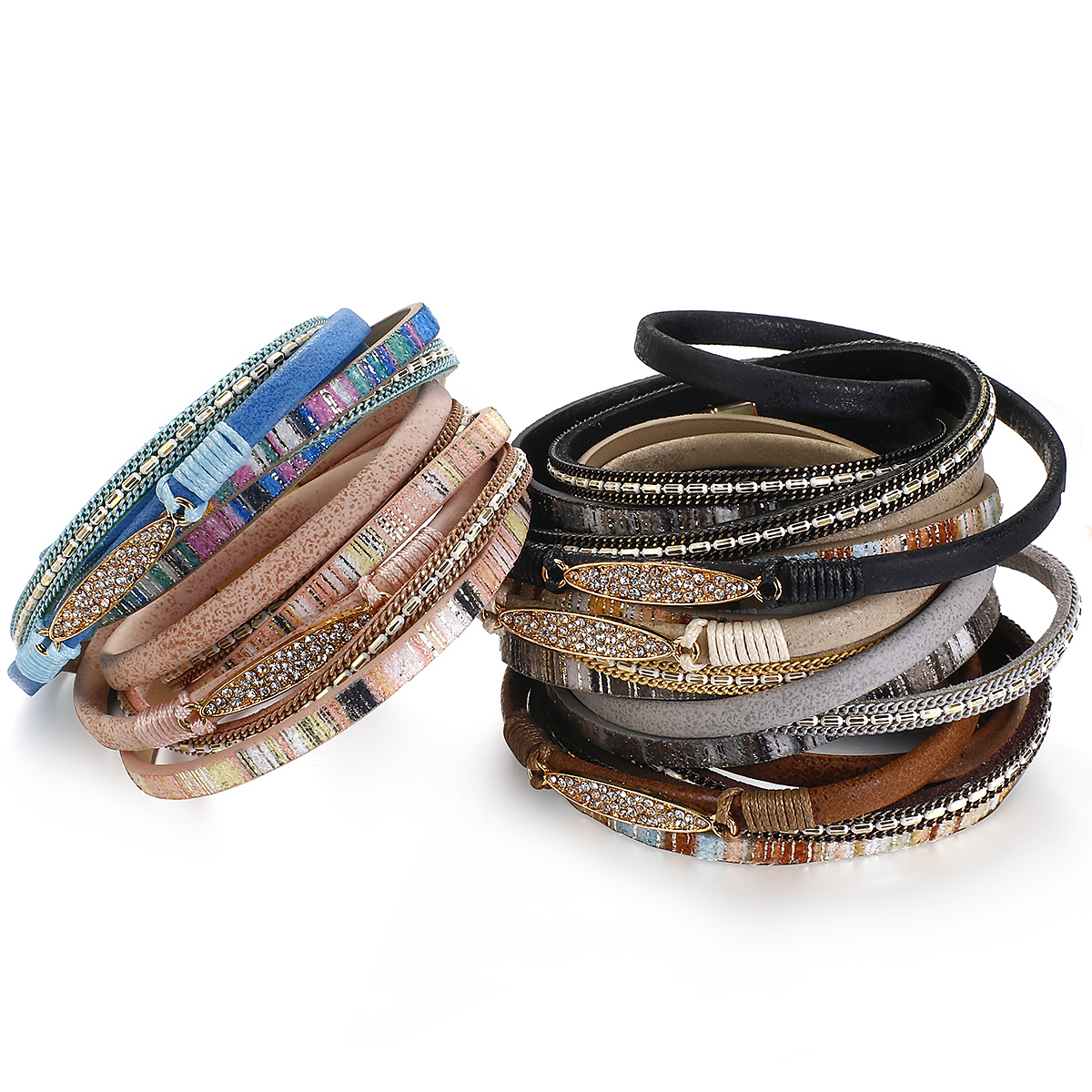 ALLYES Simple Stripe Leather Bracelet for Women Bohemian Natural stone Charm Crystal Wrap Bracelets Bangles Fashion Jewelry