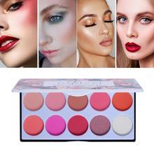 10 Color Blush Palette The Rouge Tray Brighten Orange Pink Naturally Delicate Gentle Face Cream Blush Contour Makeup Set