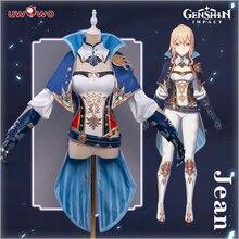 Uwowo Genshin-Disfraz de Jean de impacto, disfraz de carnaval, Halloween, juego para niñas y mujeres, atuendo de actuación, preventa