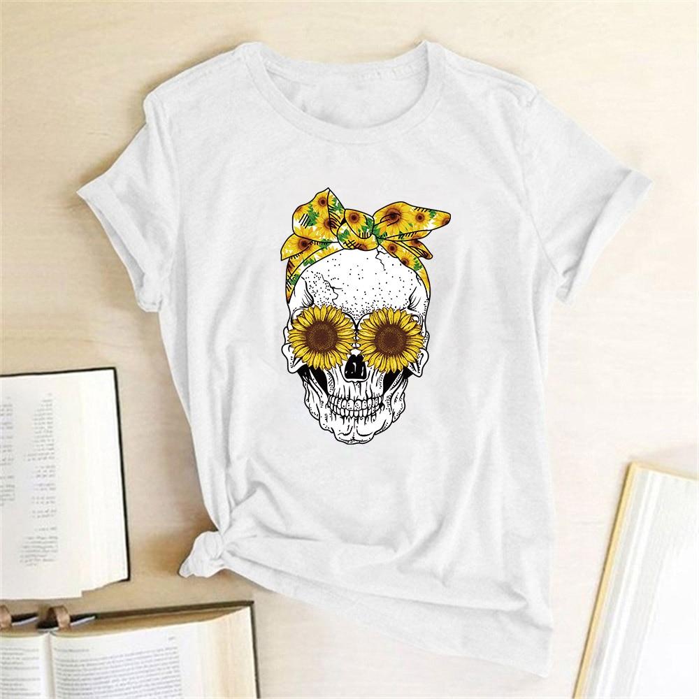 Hillbilly śmieszna czaszka Punk T koszula kobiety moda na co dzień z krótkim rękawem słoneczniki koszulki koszulka Femme topy Mujer Verano 2019 4