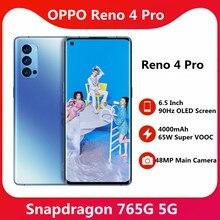 OPPO Reno 4 Pro 5G telefon komórkowy 6.5 cala 90Hz OLED zakrzywiony ekran Snapdragon 765G odblokowanie twarzą Hyper Boost 3.0 NFC Google Play