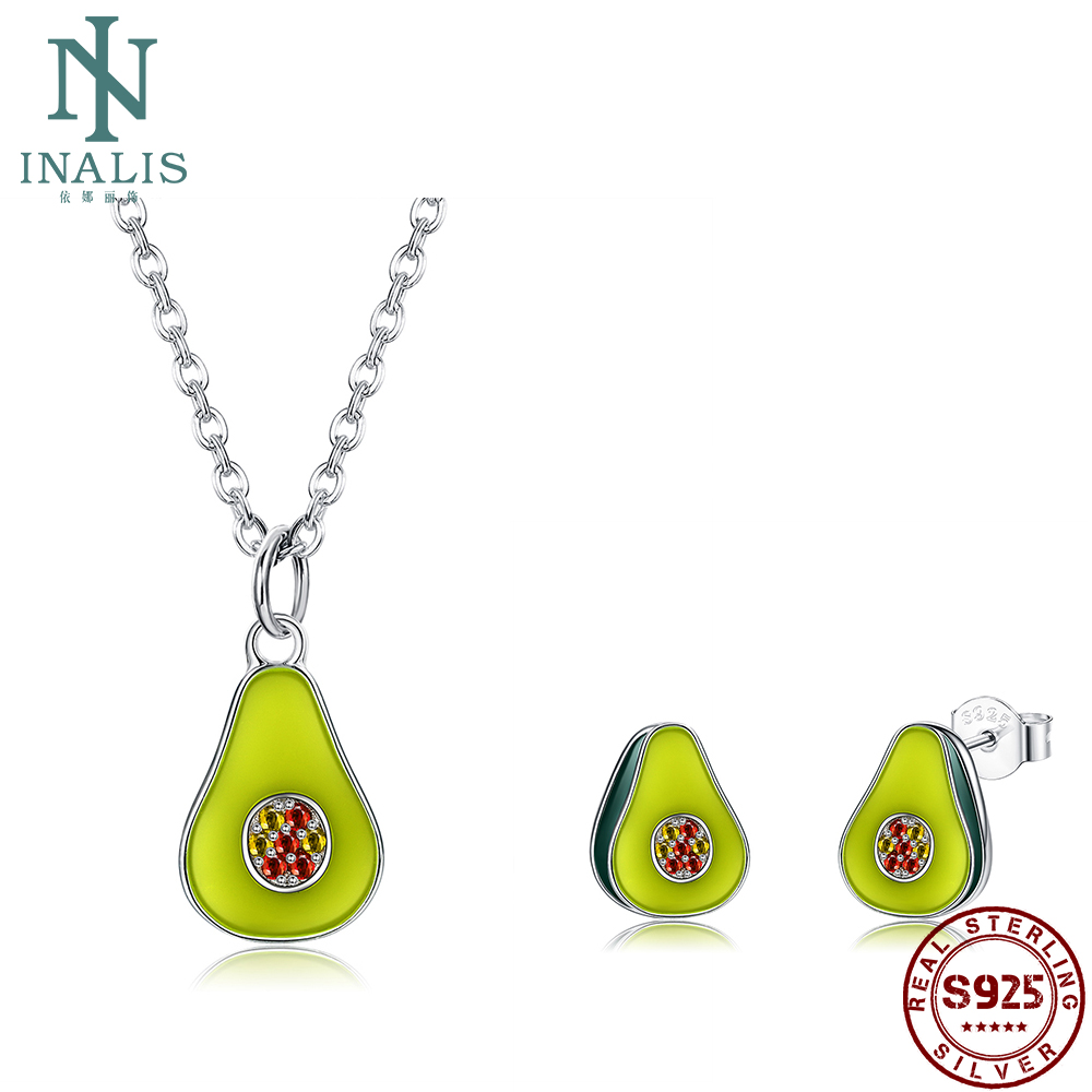 INALIS 100% S925 Sterling Silver High-End Jewelry Set Avocado Cubic Zirconia Set For Women Fine Best Selling Valentine Day Gift