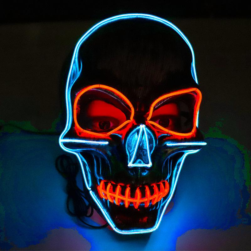 LED Sewing Mouth Skull Shape Cosplay Party Luminous Mask For Halloween