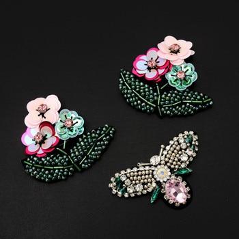Ahyonniex 1 peça flor borboleta contas strass remendos costurar em miçangas applique roupas sapatos sacos decoração remendo diy