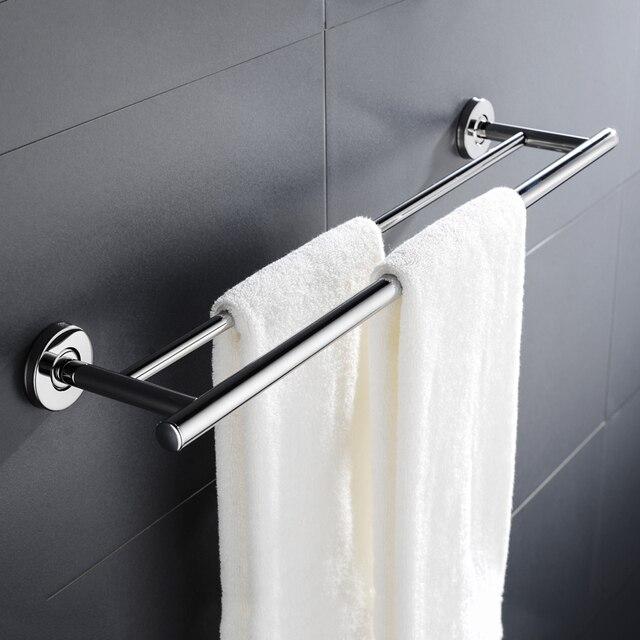 الفولاذ المقاوم للصدأ برج بار مكافحة الصدأ الحمام الحمام مزدوجة قضيب منشفة رف رف حامل الحائط
