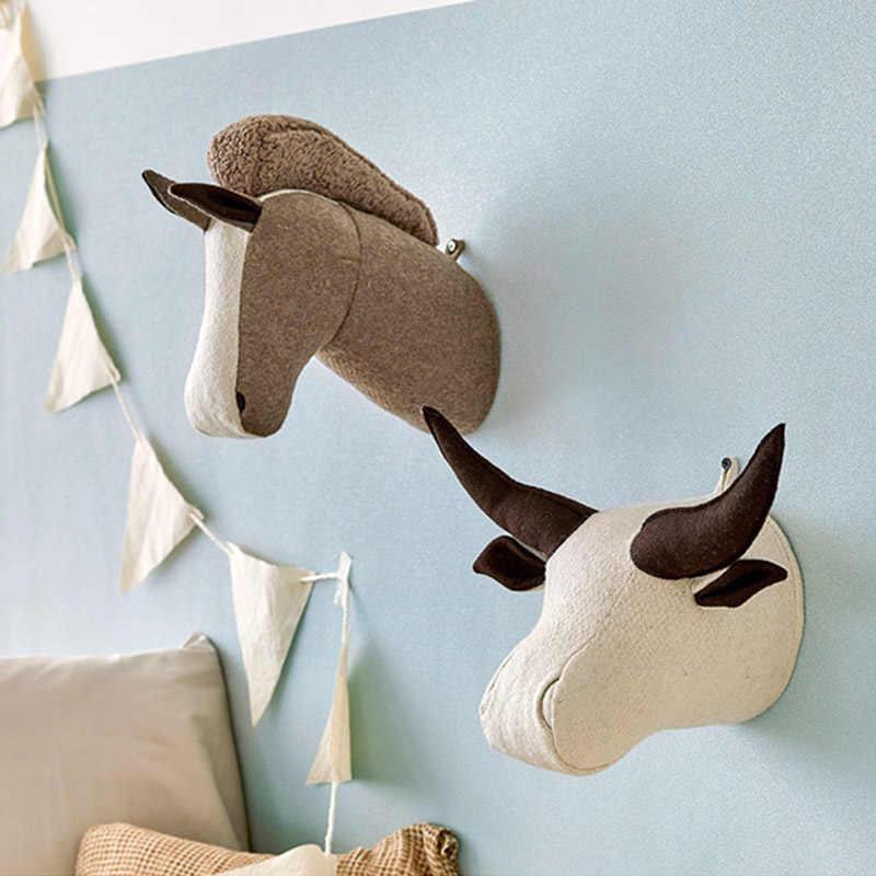 ตุ๊กตาสัตว์หัวช้างวัวม้ายูนิคอร์นของเล่นสำหรับห้องเด็ก Decoratin เด็กห้องนอนแขวนผนังตกแต่งของขวัญ