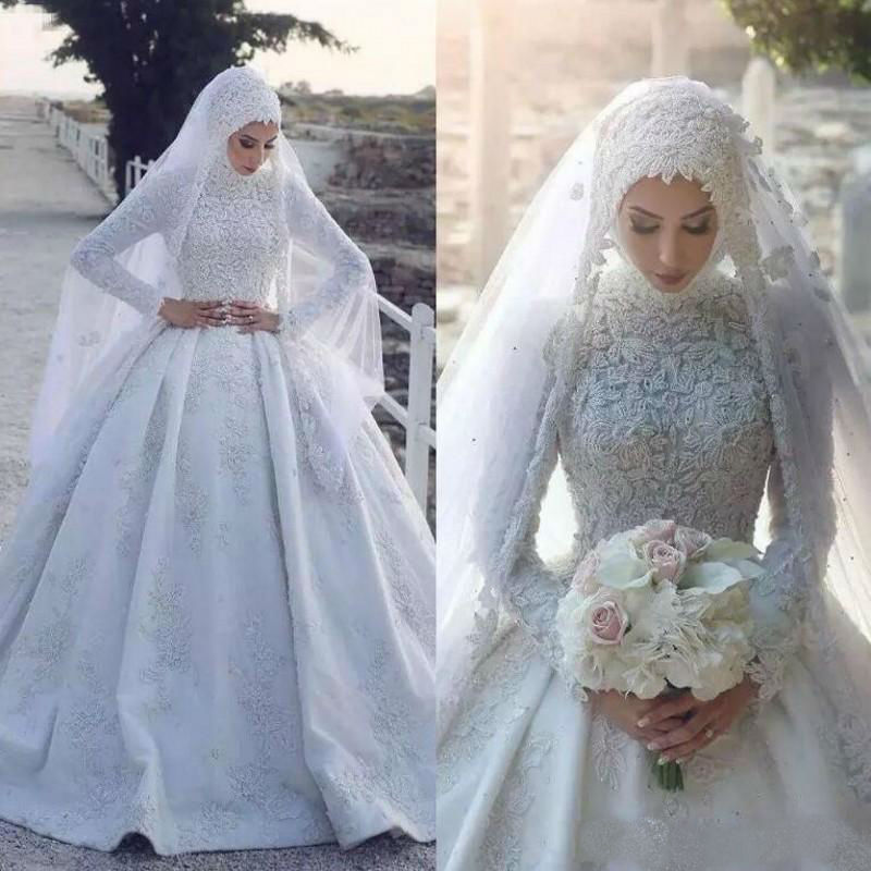 2020 Long Sleeveless Muslim Wedding Dress With Hijab Colorful Lace Appliqued Sweep Train Bridal Gowns Vestido De Novia
