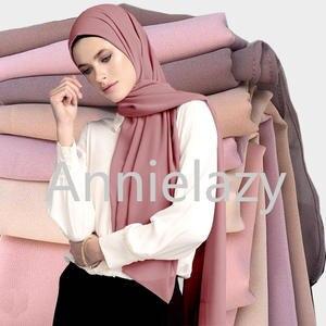 Scarf Women Shawls Head-Scarves Wraps Hijabs Georgette Bubble Plain Muslim Long Ladies