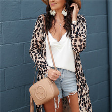 Leopard Print Long Cardigan Sweater Women 2019 Autumn Open Stitch Long Sleeve Ladies Cardigans Kimono Tops Jumper Pull Femme white open front floral print cardigans