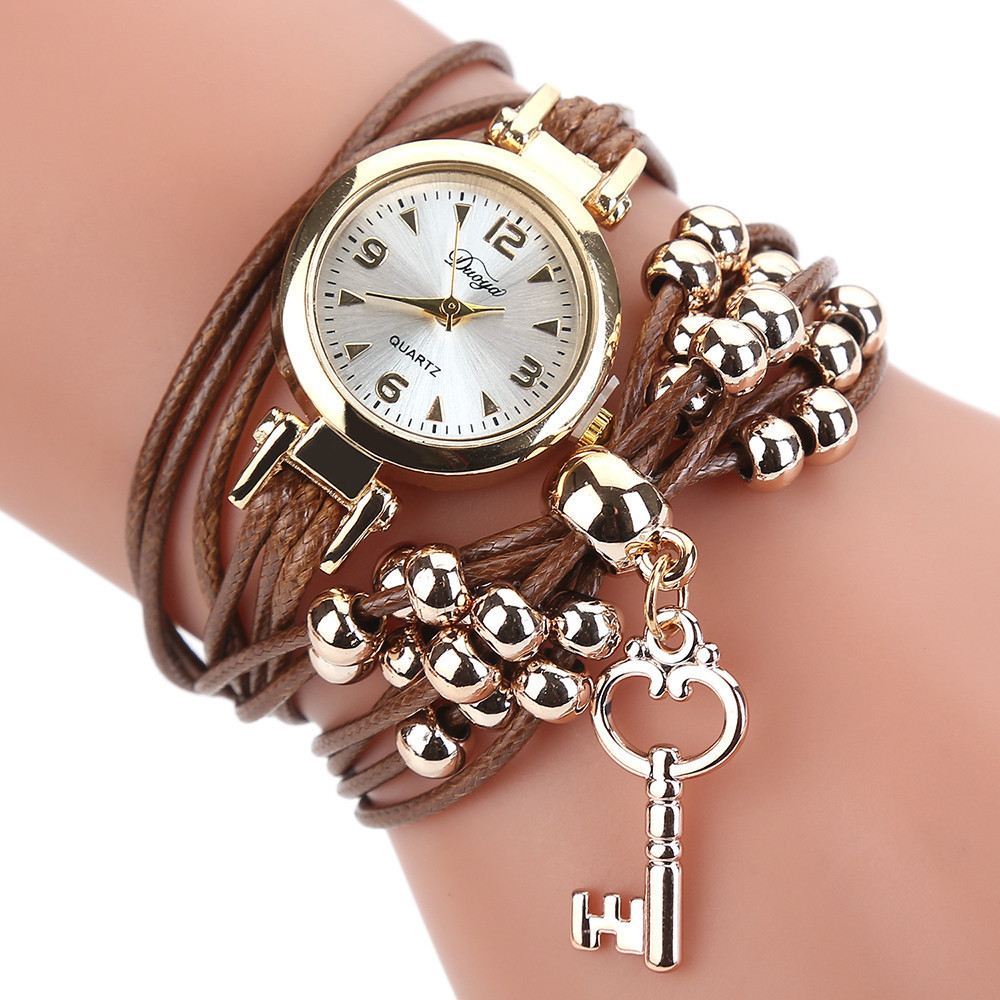 2019 Women's Watch Bracelet Watch Ladies Fashion Women's Watches Leather Circle Band Gold Dial Quartz Wristwatches Reloj Mujer