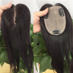 Image 3 - Doreen 8 inch Silk Base Hair Topper Virgin Human Hair Toupee  for Women Natural Color  Women Toupee with 3 clips