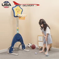 Children 4 in 1 Basketball Stand with Golf ball games Hoop Game Adjustable Basketball Rack Kids Sport Shooting Frame Toys Set