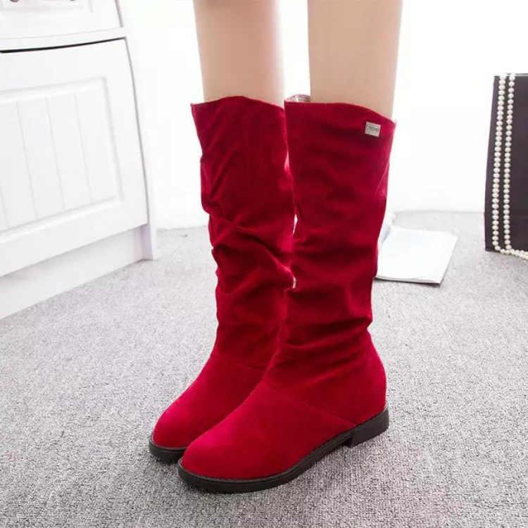 Fujin kadın botları kış moda düz alt Dropshipping nefes peluş sıcak orta topuklar katı süet eğlence orta buzağı botları
