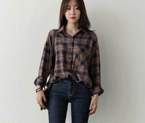 Plaid Vintage Cotton Shirt Spring femme Casual Tops Women Long sleeve Linen Cotton Girls Blouse Plus Size Women Blouses femme
