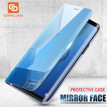 Smart View Mirror Flip Case For Samsung Galaxy Note 10 S10 S 10E S9 S8 Plus 8 9 M20 M10 A50 A30 A90 A80 A70 A9 A8 A7 2018 Cover(China)