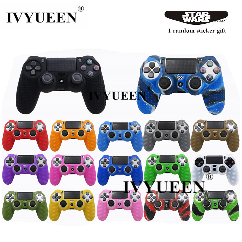 IVYUEEN For Sony PlayStation 4 Dualshock 4 PS4 Pro Slim Controller Silicone Case  Protective Skin & Analog Stick Grips Cap