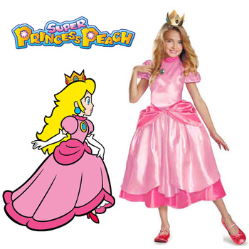 Little Princess Peach Costume Super Mario Brothers Princess Cosplay Classic Game Mario Costume Kids Girl Halloween Fancy Dress princess peach super mario bros costume classic game mario costume kids girls carnival cosplay party dress