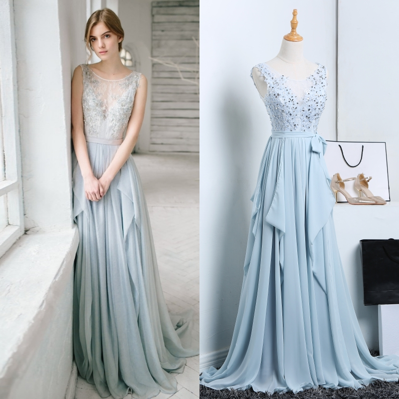 Grey Blue Lace Beading Bridal Evening Dress Bride Women Plus Size Gown Factory Price Real Photo Good Quality
