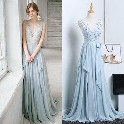 Grigio blu del merletto che borda il vestito da sera della sposa delle donne plus size abito da sposa prezzo di fabbrica foto reale di buona qualità