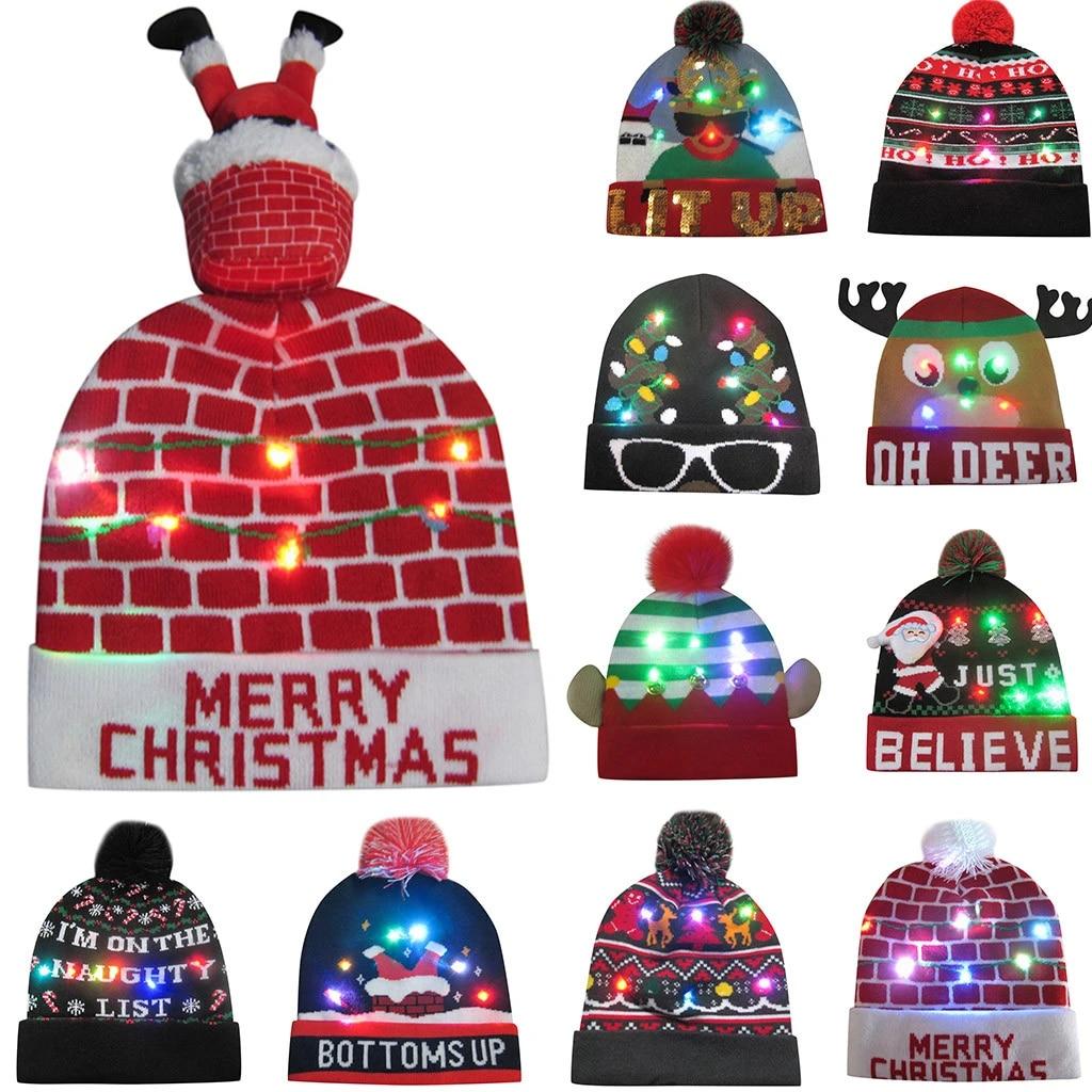 /Âge Plus de 8 Ans Goodstoworld Unisexe LED Chapeau de No/ël Lumineux 2019 Rigolo Chaud Tricot Bonnet Pere Noel Light Up Christmas Hats with 6 Flashing Light