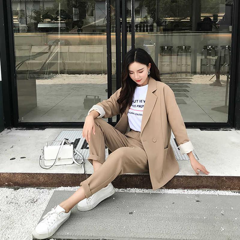 カジュアルソリッド女性パンツスーツノッチ襟ブレザージャケット & 鉛筆パンツカーキ女性のスーツの秋 2019 高品質