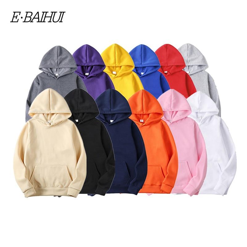 E-BAIHUI Fashion Brand Men's Hoodies New Spring Autumn Male Casual Hoodies Sweatshirts Men's Solid Color Hoodies Sweatshirt Tops