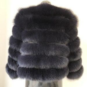 Image 5 - 2019 ผู้หญิงธรรมชาติ Blue Fox FUR Coat แจ็คเก็ตสั้นหนาของแท้ฤดูหนาวหรูหราสำหรับ grils outerwear กับแขน