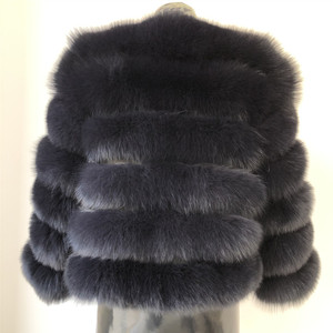 Image 5 - 2019 womens natural real blue fox fur coat jacket short thick warm genuine winter luxury for grils outerwear with sleeves