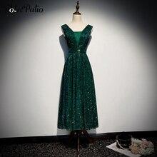 V-neck Shoulder Straps Sleeveless A-line Tea-length Sparkly Star Lace Green Evening Dresses Long Plus Size 2020 Formal Gowns blue adjustable shoulder straps v neck sleeveless lingerie sets