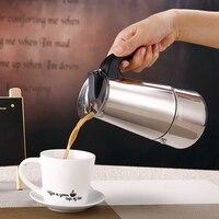 200Ml Portátil de Aço Inoxidável máquina de Café Espresso Moka Pot com Filtro Coador Cafeteira Pote Chaleira Fogão Elétrico Kit|Aquec. chá| |  -