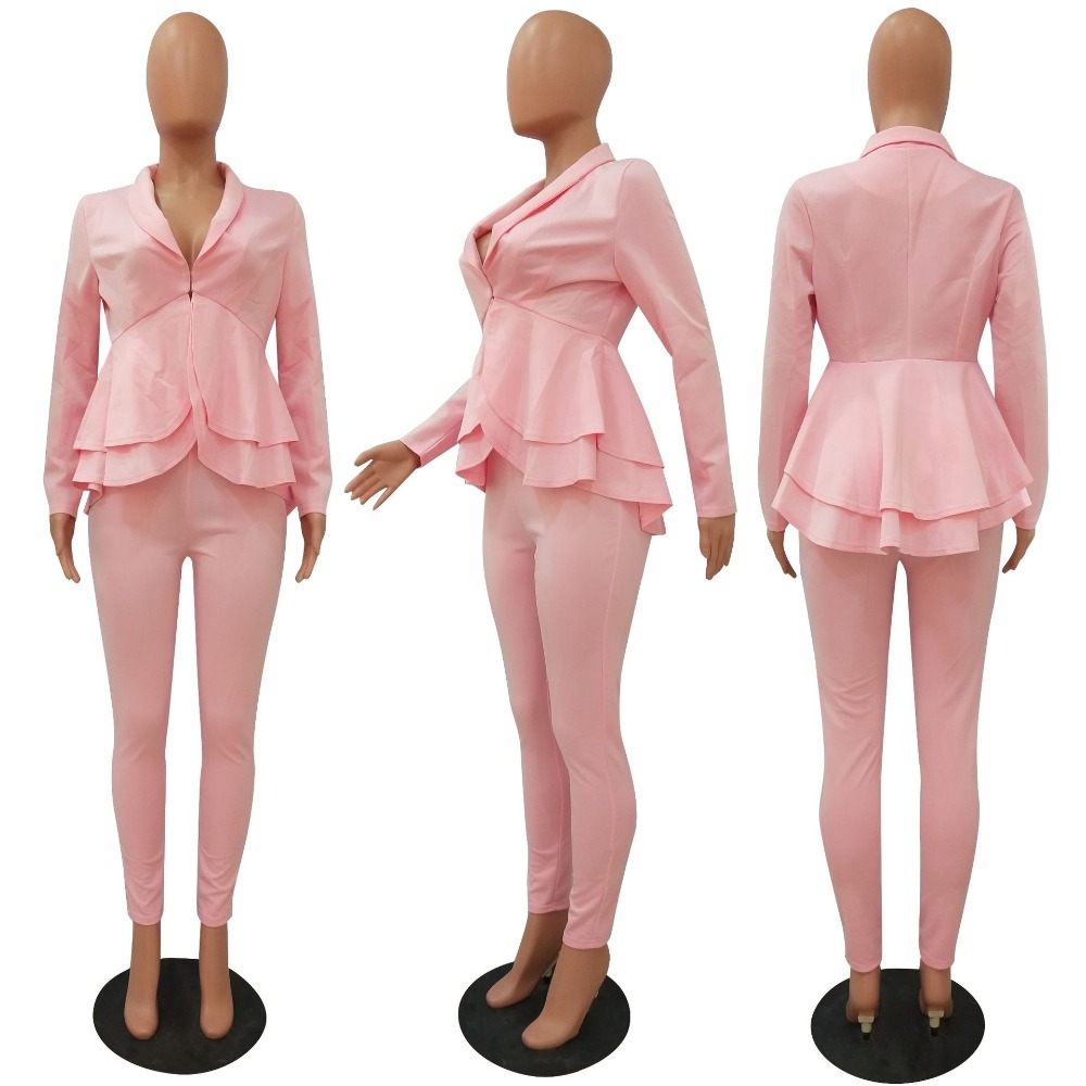 H67cf55db33834c89ae33dfde3ac40df2n - Plus Size Office Ladies Blue Pink 2 two piece set top and pants Elegant Female Casual Business matching suit sets Women clothing
