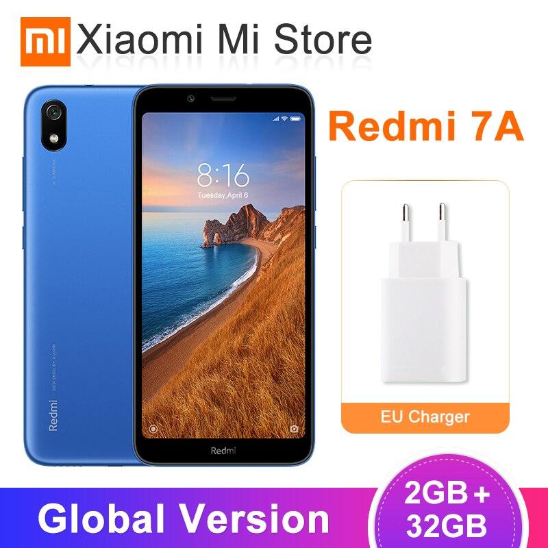 "In Stock Global Version Xiaomi Redmi 7A 2GB 32GB Mobile Phone 5.45"" Snapdragon 439 Octa Core 12MP Camera AI Face Unlock Phones"