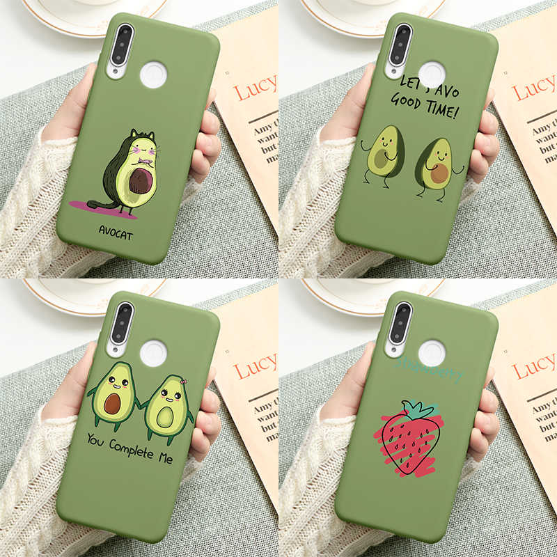 ซิลิโคนCandy MatteกรณีสำหรับCoque Huawei Honor 8Xดู 10 20 9 Lite 7A Pro 7X Play Avocado CaseสำหรับHonor 10i 20i TPU Cover