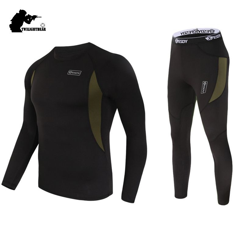 Winter Mens Thermal Underwear Suit Fleece Warm Breathable Sport Underwear Suits Men Army High Elastic Quick Drying Set AF152