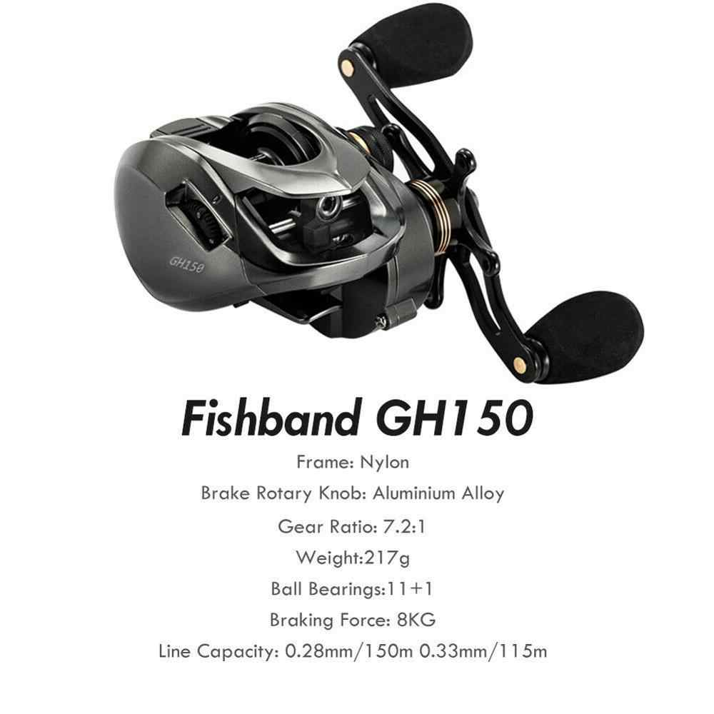 2020 Fishband Baitcasting Reel GH100 GH150 7.2: 1 ปลาคาร์พเหยื่อหล่อตกปลา Reel สำหรับปลาเทราท์ Perch ปลานิลตกปลา Bass Fishing Tackle