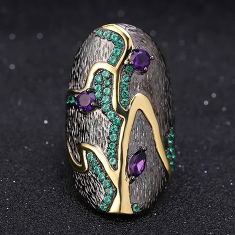 Huitan Black Punk Ring for Women Newly Design Diverse Zircon Color Female Party Accessories Cool Daily Wear Hot Jewelry Size5-12