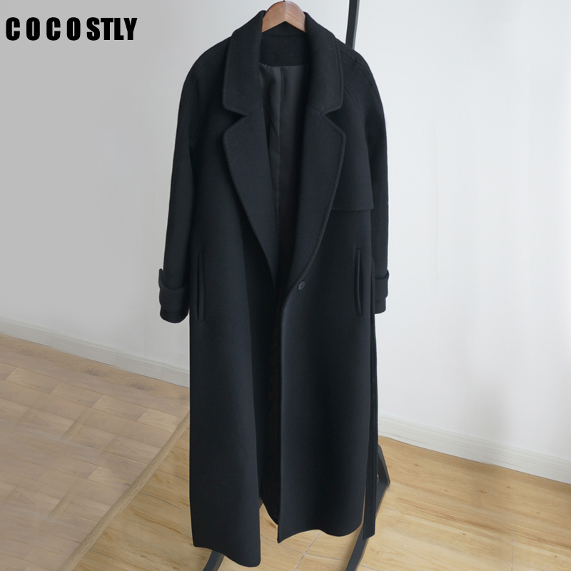 Winter women cashmere wool jacket high qualitykorean style long loose woolen coat black slim long-sleeved woolen outerwear