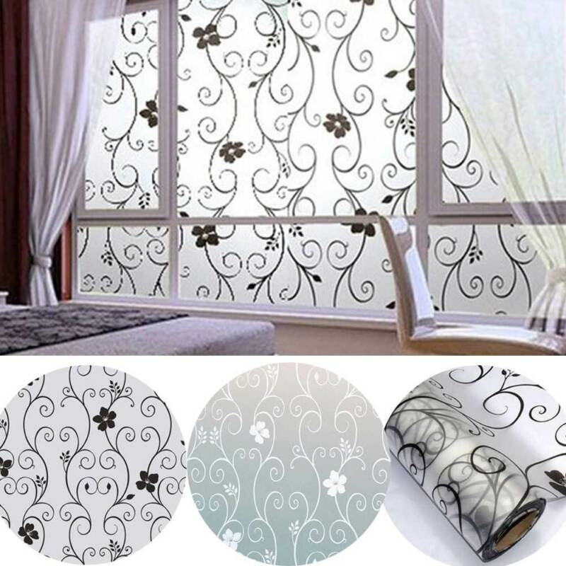 1 Roll Frosted Privacy Floral Pattern Window Film Home Bedroom Bathroom Glass Window Film Stickers No Glue Self Adhesive Sticker