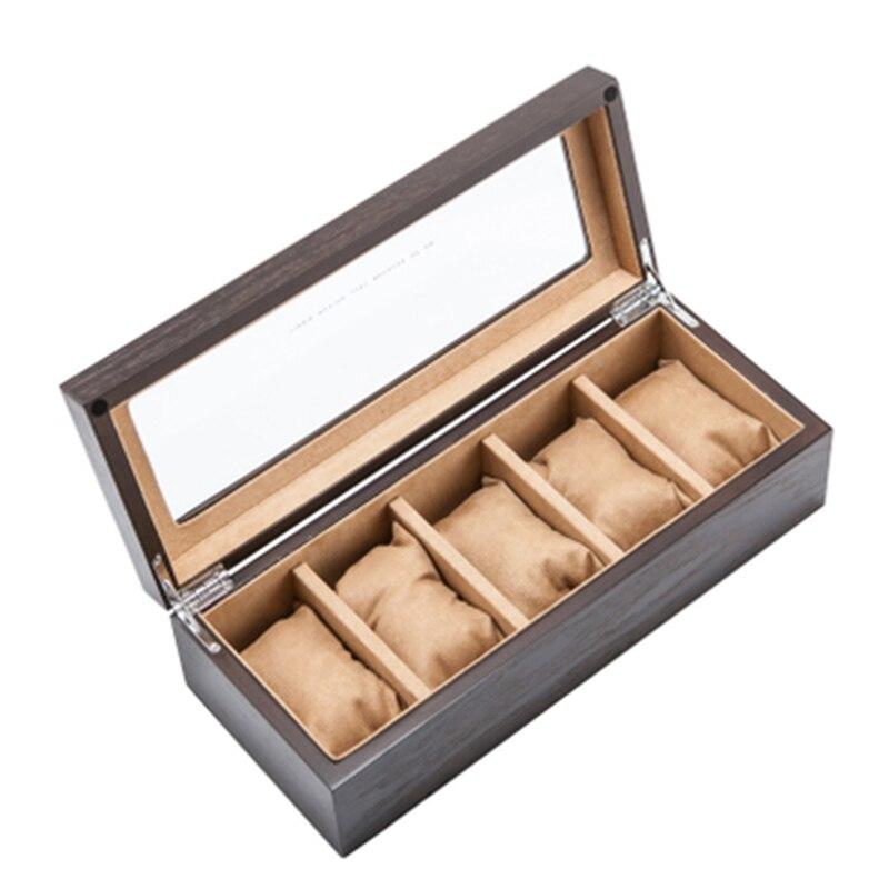 Top 5 fentes luxe bois montre boîte de rangement avec fenêtre étain placage écrin de montre bijoux de mode cadeau montres boîtes C031