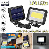 COB 100 LEDs Solar Lamp Sun Power Wall Lights PIR Sensor Light Waterproof Outdoor Solar Garden Lights for Industrial Lighting