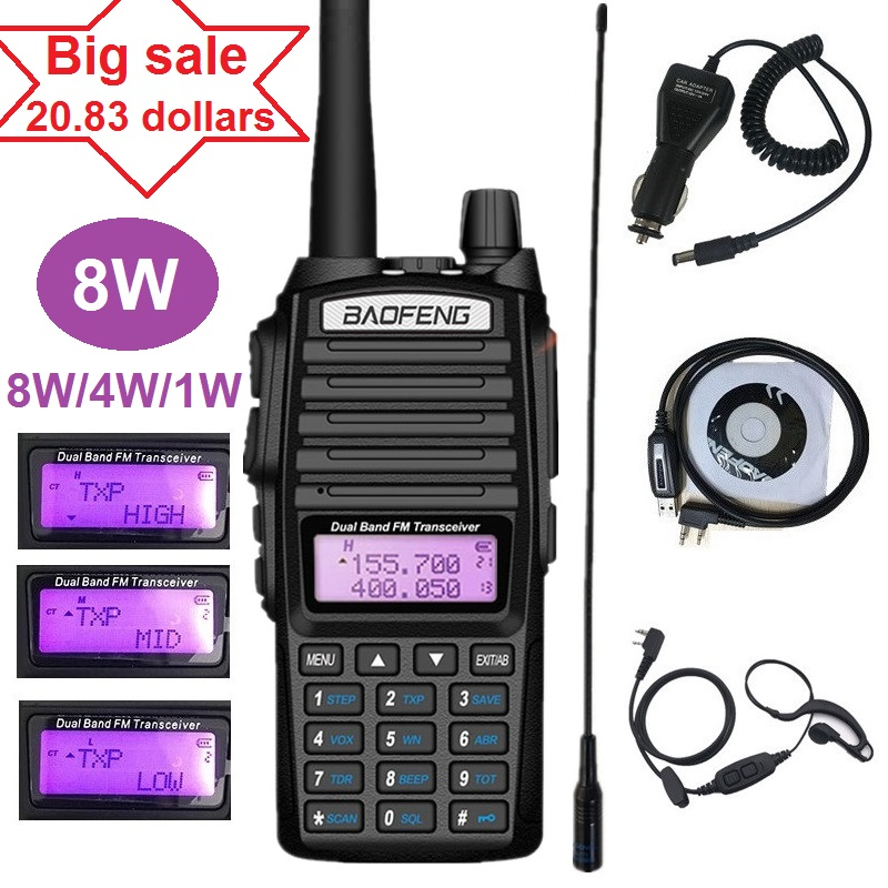 8W BAOFENG UV-82 Walkie Talkie VHF UHF Marine Ham CB Radio Station Transceiver Scanner UV 82 PMR 446 Hunting Two Way Radio VOX