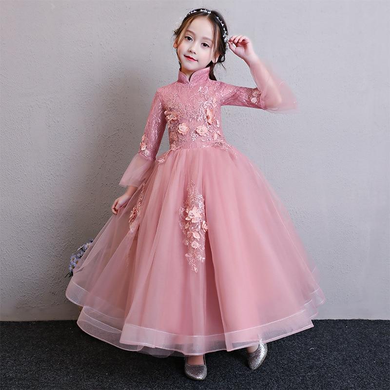 Girls Host Catwalks Evening Gown Princess Dress Children Wedding Dress Puffy Yarn Flower Boys/Flower Girls Piano Costume Nobilit