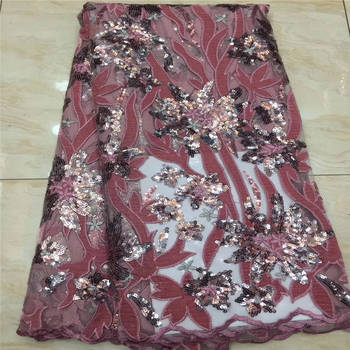 2020 Latest Red African French lace fabric with tulle sequins embroidered Swiss guipure tulle mesh lace for Nigerian dresses