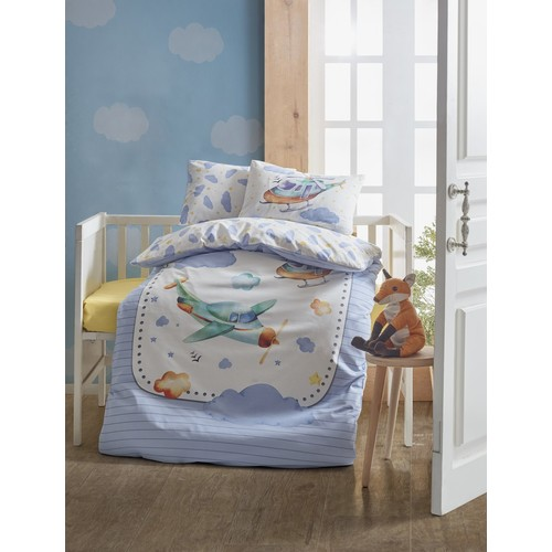 Baby Bed Set Aircraft Blue 100 Cotton Bedding Set